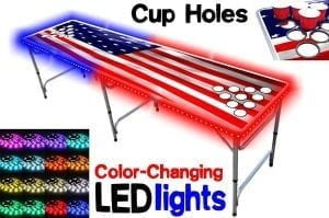 8-Feet Beer Pong Table w: OPTIONAL Cup Holes & LED Color-Changing Glow Lights - 11 Table Designs Available