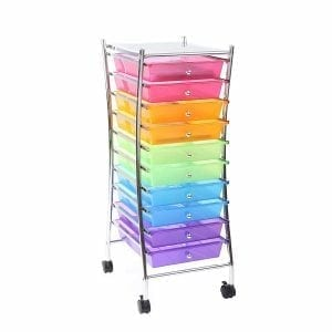 Finnhomy 10 Drawer Rolling Storage Cart Utility Mobile Organizer with Drawers for Office
