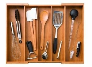 Seville Classics Bamboo Expandable Adjustable Cutlery Drawer Tray Organizer