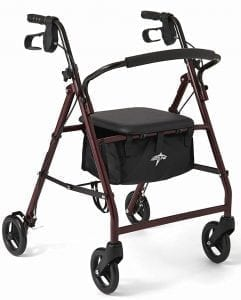 Medline Steel Foldable Adult Transport Rollator