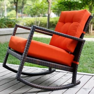 Merax Cushioned Rattan Rocker Chair