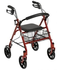 Drive Medical Four-Wheel Rollator with Fold Up Removable Back Support