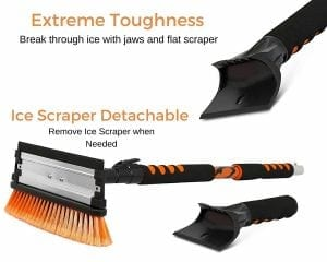 Snow Moover 58 Extendable Snow Brush with Squeegee & Ice Scraper
