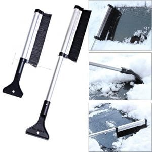 Extendable Telescoping Snow Brush 2-in-1 Retractable Ice Scraper