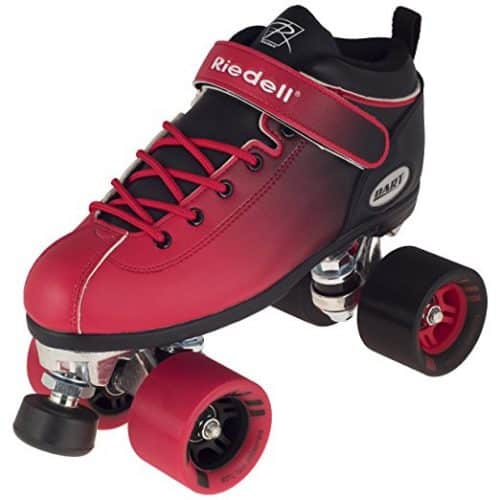 Riedell Dart 2 Tone Black & Red Ombre Quad Roller Speed Skate