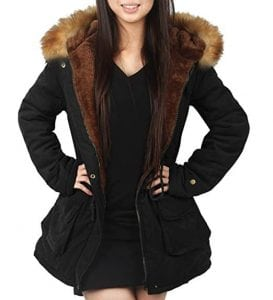 4How Women's Parka Jacket Hooded Winter Coats Faux Fur Coat Outdoor Army Green Black
