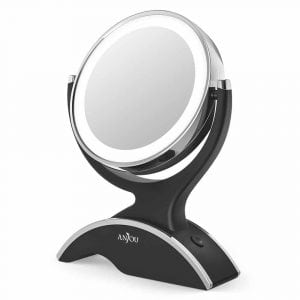 Anjou Vanity Mirror Battery Powered Makeup Mirror LED Lighted with 1X : 7X Magnification