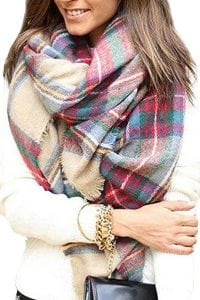 Bess Bridal Oversized Plaid Blanket Scarf