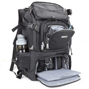 Evecase Extra Large DSLR Camera:Laptop Travel Backpack