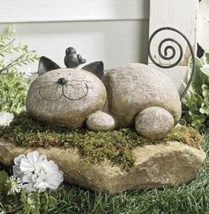 Fun Express Resting Cat Stone Whimsical Garden Accent