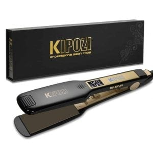 KIPOZI Professional Titanium Flat Iron Hair Straightener with Digital LCD Display