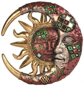 Mosaic Cresent Moon and Sun Plaque Decoration