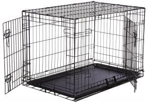 AmazonBasics Folding Metal Dog Kennel with Paw Protector