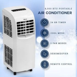 Della 8,000 Btu Portable Air Conditioner | Cooling Fan | Dehumidifier