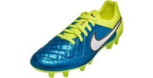 Nike Womens Tiempo Legend V FG Soccer Cleat Blue Lagoon/ Volt