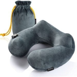 PUREFLY Soft Velvet Inflatable Travel Neck Pillow