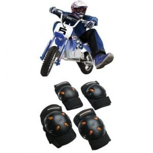 Razor MX350 Dirt Rocket Electric Motocross Bike and Mongoose BMX Bike Gel Knee and Elbow Pads