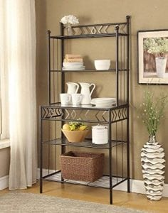 Five tier Black Metal Glass Shelves Bakers Rack