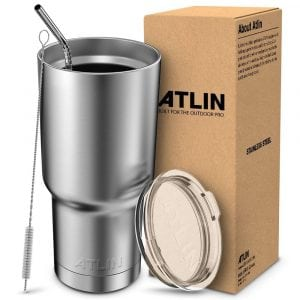 Atlin Tumbler [30 oz. Double Wall Stainless Steel Vacuum Insulation] Travel Mug [Crystal Clear Lid]