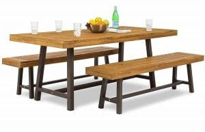 The Best Choice Products 3 Piece Acacia Wood Picnic Style Outdoor Dining Table