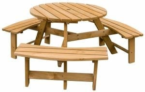 Merax Pine Wood Round Picnic Table
