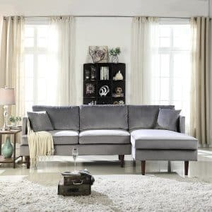 Sofamania Mid-Century Modern Brush Microfiber Sectional Sofa
