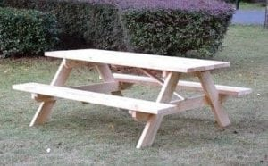 The Rectangular Shaped Wooden Picnic Table