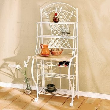 Southern Enterprises Trellis Bakers Rack with Scroll Work