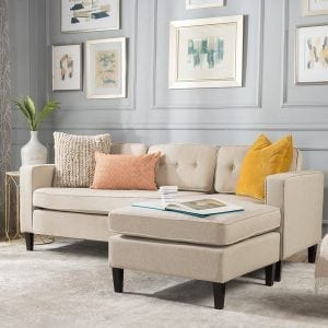 Windsor mid-Century Fabric Chaise Sectional Sofa
