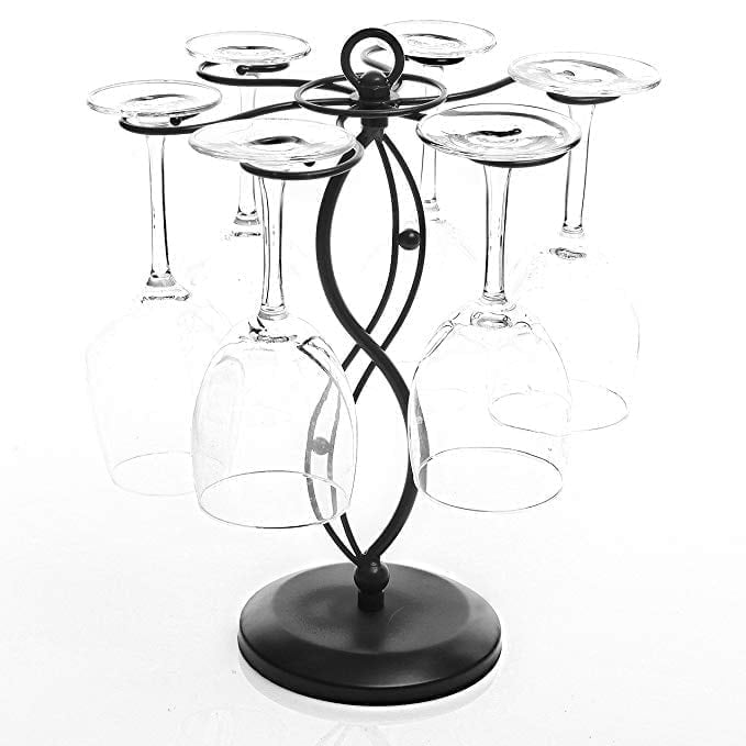 Scrollwork Black Metal Freestanding Tabletop Stemware Storage Rack