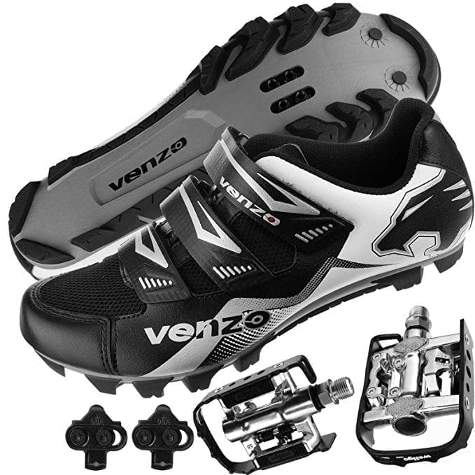 Venzo Mountain Bike Cycling Shoes + Multi-Use Pedals