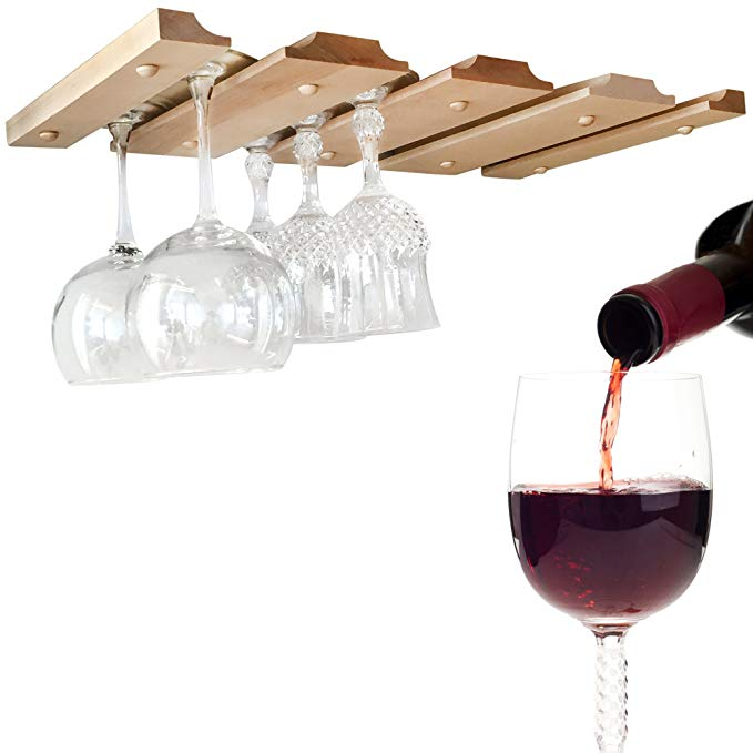 Wine Glass Rack - Under Cabinet, Counter, Bar or Shelf Stemware Holder