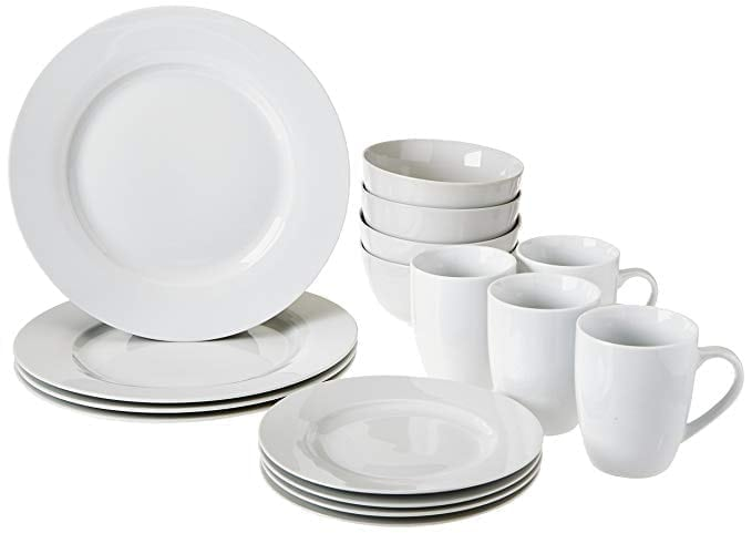 AmazonBasics 16-Piece Dinnerware Set, Service for 4