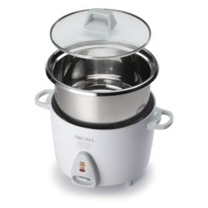 Aroma Simply Stainless 3-Cup (Uncooked) 6-Cup (Cooked) Rice Cooker