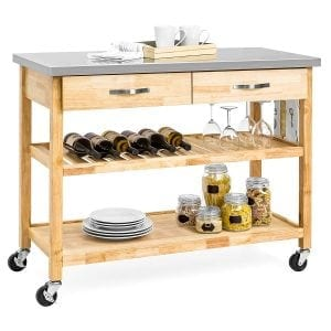 Best Choice Products 3-Tier Wood Rolling Kitchen Cart