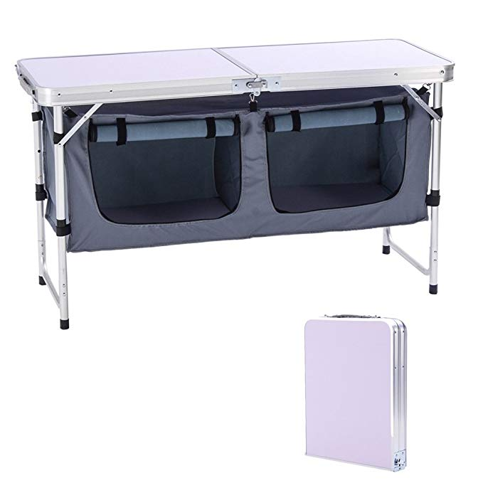CampLand Outdoor Table with Organizer for storage
