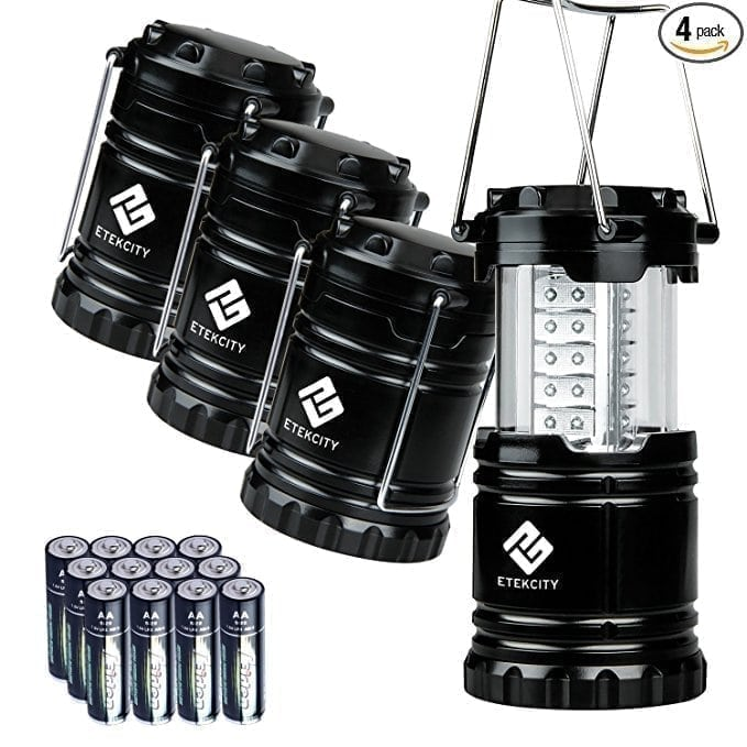 Etekcity 4 Pack Portable LED Camping Lantern with 12 AA Batteries - Survival Kit for Emergency