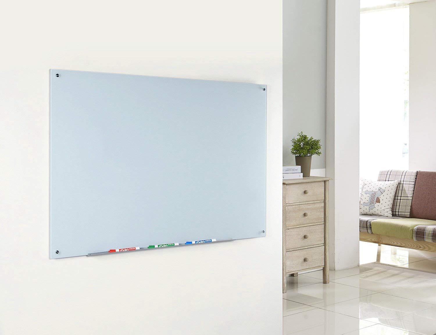 Magnetic Glass Dry-Erase Board Set includes Board, 2 Magnets, and Aluminum Marker Tray