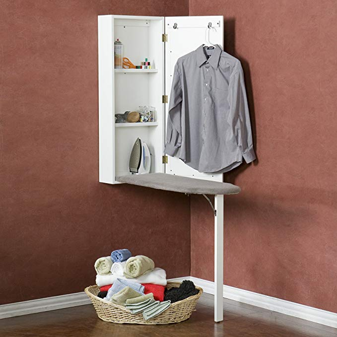 Southern Enterprises Wall Mount Ironing Board Center with Storage and Wall Mirror