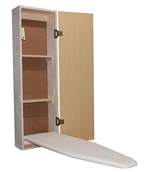 USAFlagCases Built-in Ironing Board Cabinet Raw Wood, Iron Storage