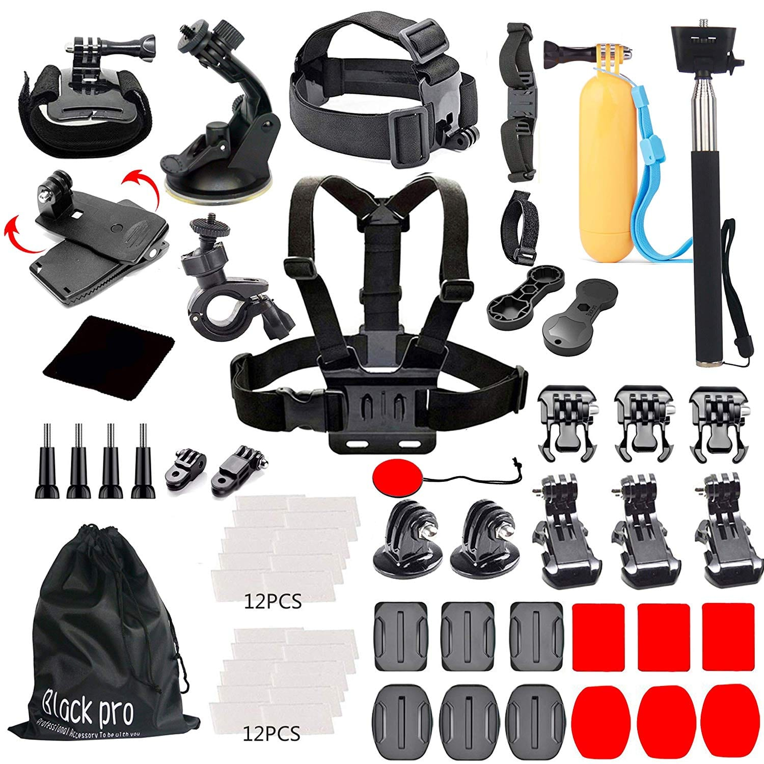 Black Pro Basic Common Outdoor Sports Kit for GoPro Hero 6/ Fusion/ Hero 5/ Session 5/4/3 + 3/ 2/ 1
