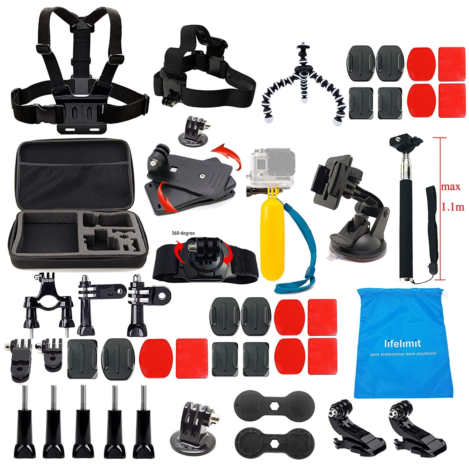 Lifelimit Accessory Starter Kit for GoPro Hero 6/ Fusion 5/ Session/ 4/ 3/ 2/ HD/ Hero