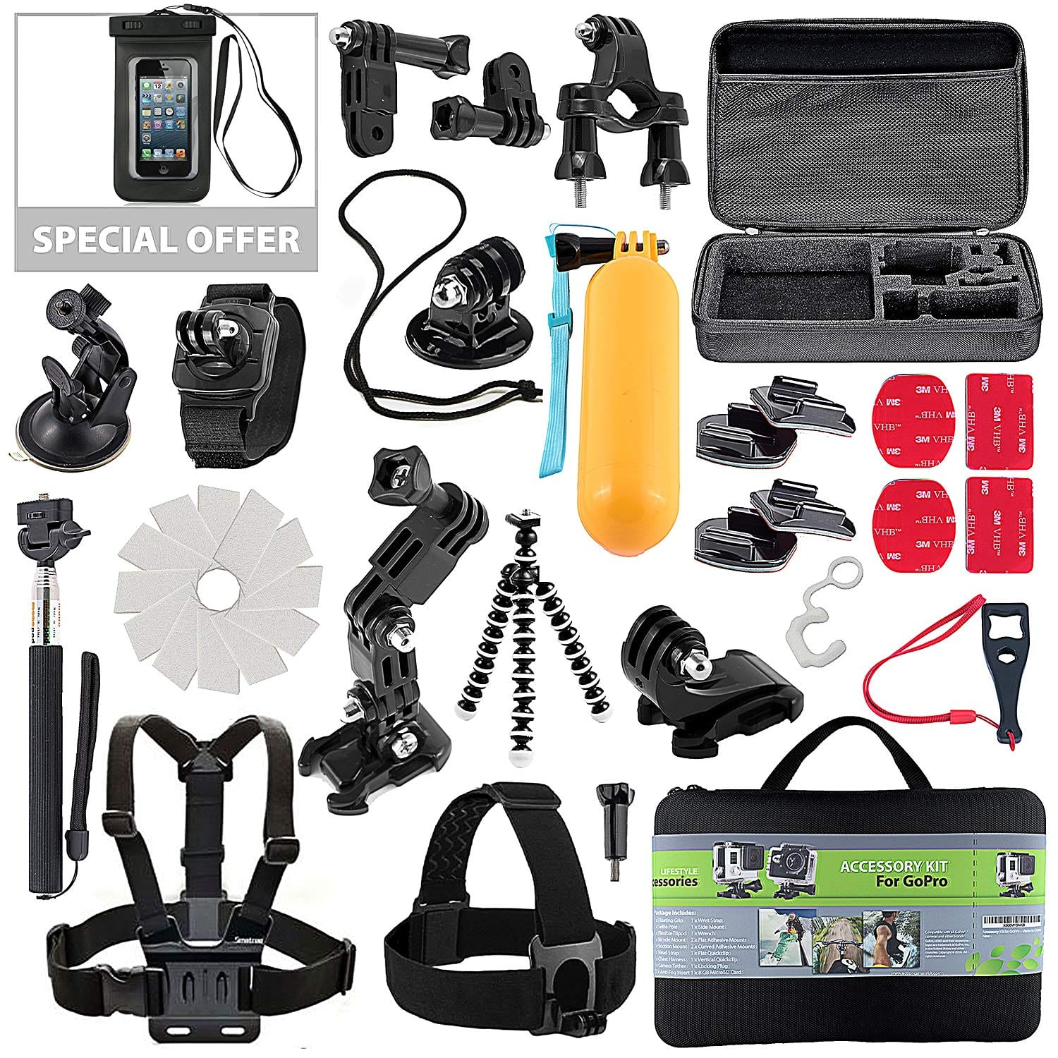 Action Camera Kit for GoPro Accessories Session Hero 3-4-5, GoPro SJ4000 SJ5000