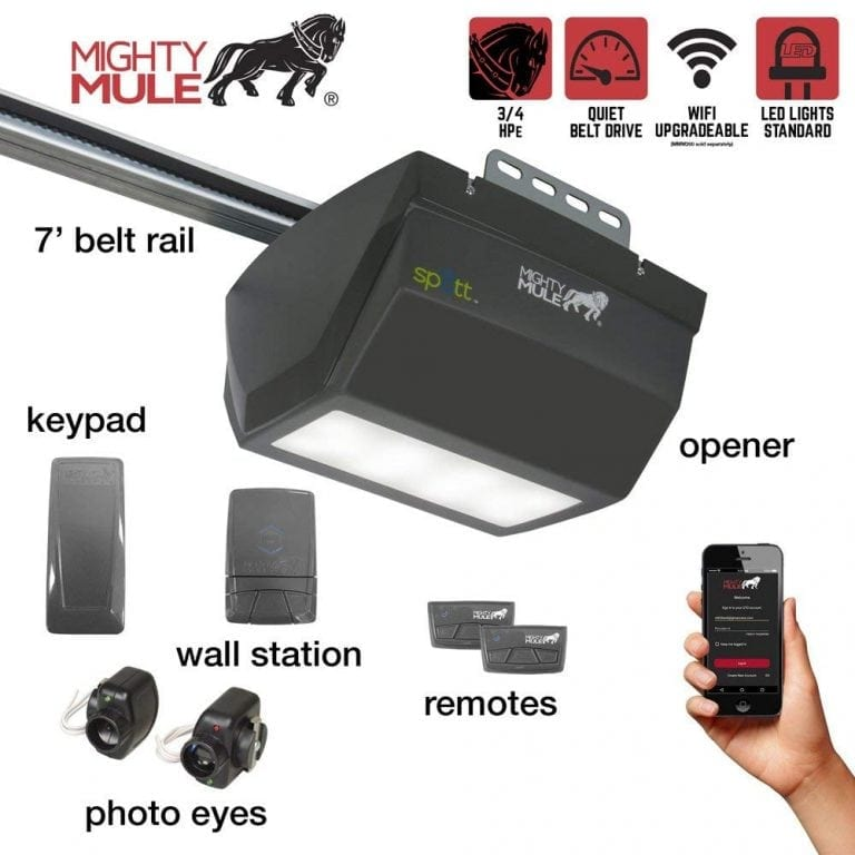 Mighty Mule MM9333H 9000 Series operator single LED light smart garage door opener