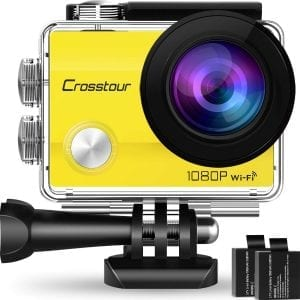 Crosstour 12MP Wide-Angle Sports Action Camera (Yellow)