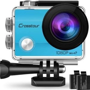 Crosstour 1080P Full HD 12MP Action Camera-(Blue)