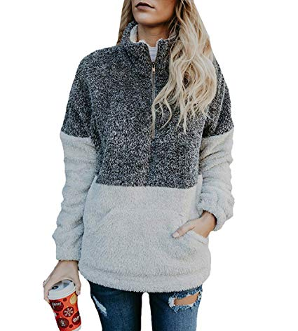 BTFBM Women Long Sleeve Zipper Sherpa Sweatshirt
