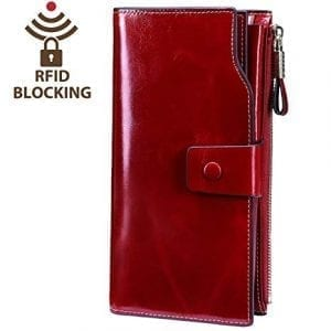 Itslife Women's RFID Blocking Luxury Wax Genuine Leather Wallet