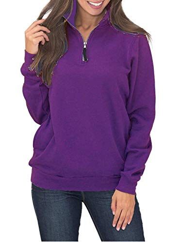 Vienjoy Women's Oversized Long Sleeve Round Neck Fleece Sweatshirt