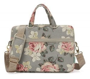 kayond White Rose Canvas Fabric Notebook Bag